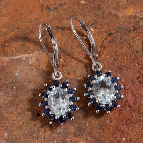 Espirito Santo Aquamarine (Ovl), Kanchanaburi Blue Sapphire Lever Back Earrings in Platinum Overlay Sterling Silver 3.000 Ct.