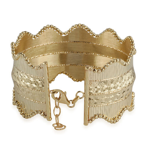 Italian Hand Made 9K Yellow Gold Diamond Cut Bangle (Size 7 with 1 inch Extender), Gold wt. 18.00 Gms.