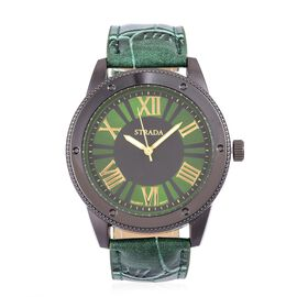 STRADA Japanese Movement Water Resistant Watch in Black Tone with Green Colour Strap