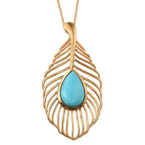 Sonoran Turquoise (Pear) Pendant With Chain in 14K Gold Overlay Sterling Silver 2.500 Ct.