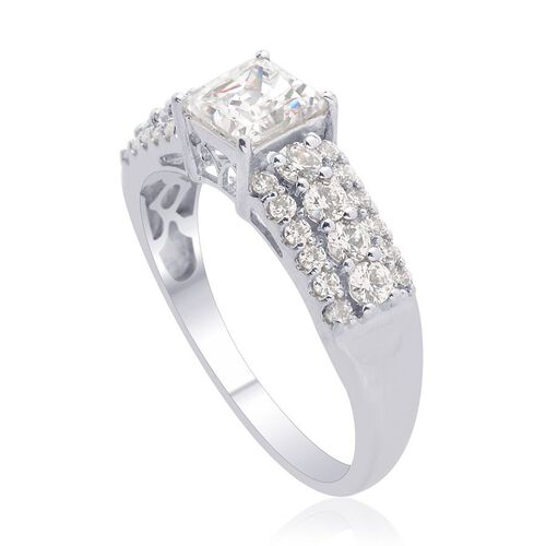 J Francis - Platinum Overlay Sterling Silver (Sqr) Ring Made with SWAROVSKI ZIRCONIA  2.080 Ct.