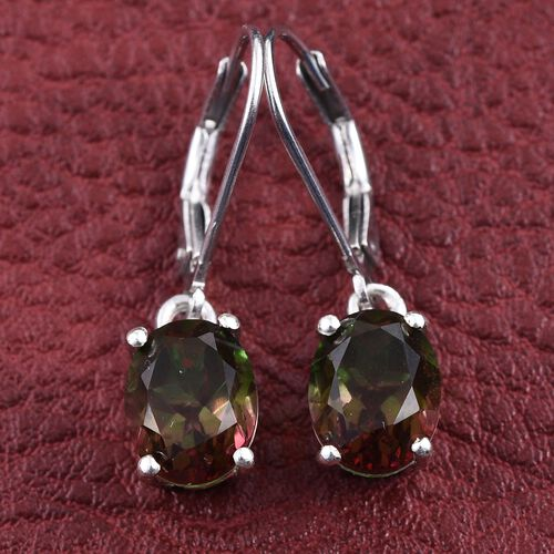 Bi-Color Tourmaline Quartz (Ovl) Lever Back Earrings in Platinum Overlay Sterling Silver 4.750 Ct.