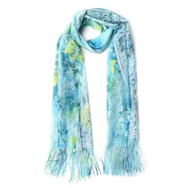Italian Designer Inspired - Green, Blue and Multi Colour Flower Pattern Scarf with Tassels (Size 160x60 Cm)