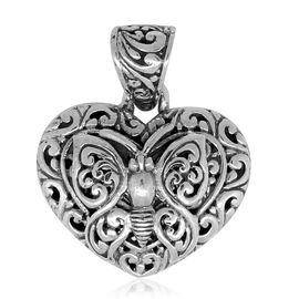 Royal Bali Collection Sterling Silver Filigree Heart Pendant, Silver wt. 4.65 Gms.