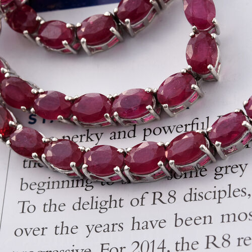 Limited Edition- AAA African Ruby (Ovl) Necklace (Size 18) in Platinum Overlay Sterling Silver 66.750 Ct.