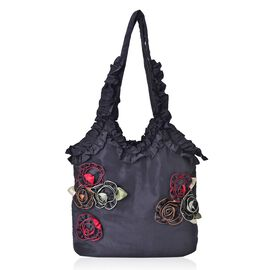 3D Rose Flowers and Ruffle Embellished Black Colour Tote Bag (Size 31X26.5X10 Cm)
