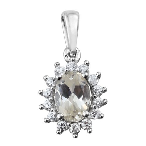 Natural Cambodian Zircon Halo Pendant in Platinum Plated Silver 1.25 Ct