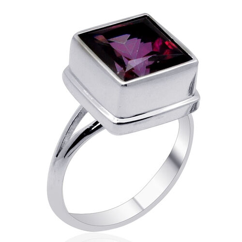 Royal Bali Collection Signity Blazing Red Topaz (Sqr) Solitaire Ring in Sterling Silver 6.200 Ct.