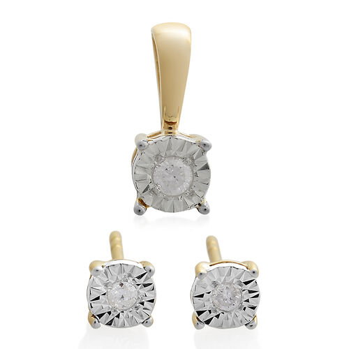 Diamond SGL Certified (I3/G-H) Solitaire Pendant and Stud Earrings Set in 9K Gold