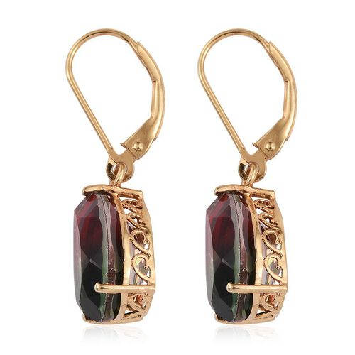 Bi-Color Tourmaline Quartz (Pear) Lever Back Earrings in 14K Gold Overlay Sterling Silver 11.750 Ct.