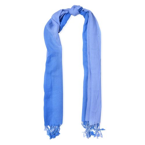100% Wool Dark Blue and Light Blue Colour Scarf with Fringes (Size 175x70 Cm)