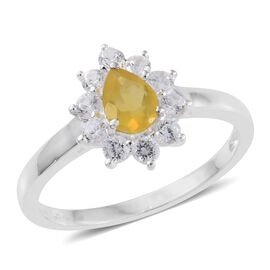 Natural Canary Opal (Pear 0.50 Ct), Natural Cambodian Zircon Ring in Sterling Silver 1.500 Ct.