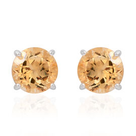 Citrine (Rnd) Stud Earrings (with Push Back) in Sterling Silver 5.000 Ct.