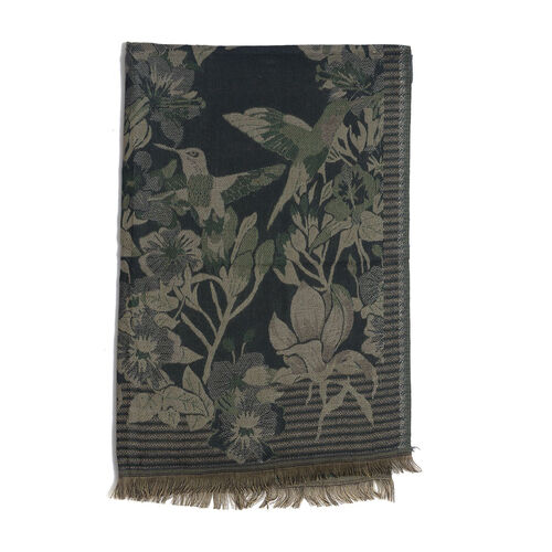 Multi Colour Flowers, Leaves and Birds Pattern Green Colour Scarf (Size 180x70 Cm)