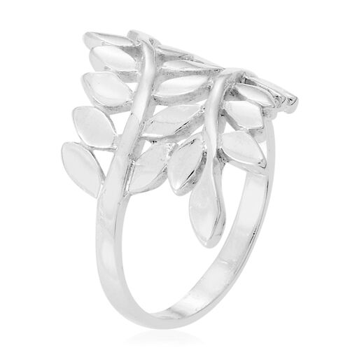 Thai Rhodium Plated Sterling Silver Leaves Crossover Ring, Silver wt 5.35 Gms.