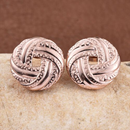 Rose Gold Overlay Sterling Silver Stud Earrings (with Push Back), Silver wt 4.28 Gms.