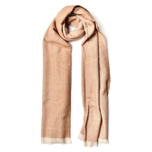 Designer Inspired-Beige Colour Scarf with Fringes (Size 200X80 Cm)