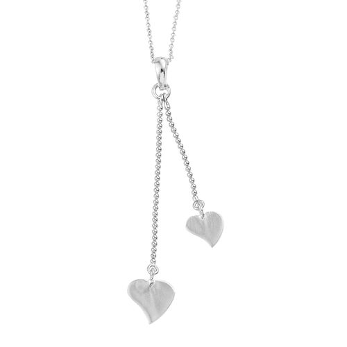 Designer Inspired Rhodium Plated Sterling Silver Heart Pendant With Chain (Size 20), Silver wt 3.05 Gms.