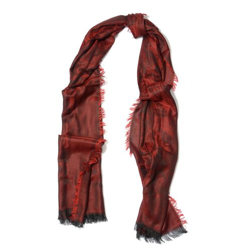 100% Modal Damask Pattern Red and Black Colour Shawl (Size 180x70 Cm)