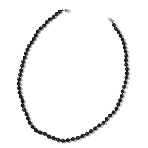 Australian Rare AAA Black Tourmaline Showstopper Necklace (Size 20) with Magnetic Clasp in Rhodium Plated Sterling Silver 144.000 Ct.