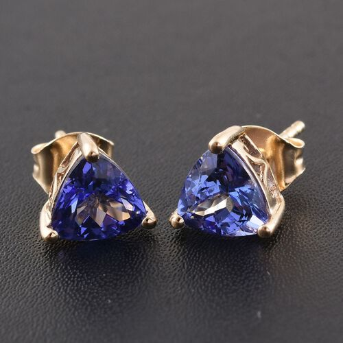 14K Yellow Gold Tanzanite (Trl) Stud Earrings (with Push Back) 2.250 Ct.
