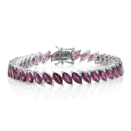 Rhodolite Garnet (Mrq) Tennis Bracelet (Size 7.25) in Platinum Overlay Sterling Silver 24.000 Ct.