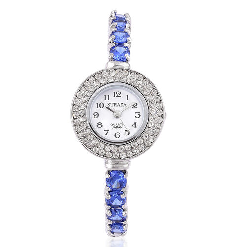 New Concept - STRADA Japanese Movement Silver Tone Bangle Watch with Austrian Crystal