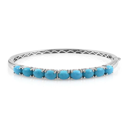 Arizona Sleeping Beauty Turquoise (Ovl) Bangle (Size 7.5) in Platinum Overlay Sterling Silver 10.000 Ct.