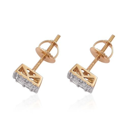 ILIANA 18K Yellow Gold IGI Certified Diamond (Bgt) (SI/G-H) Stud Earrings (with Screw Back) 0.500 Ct.