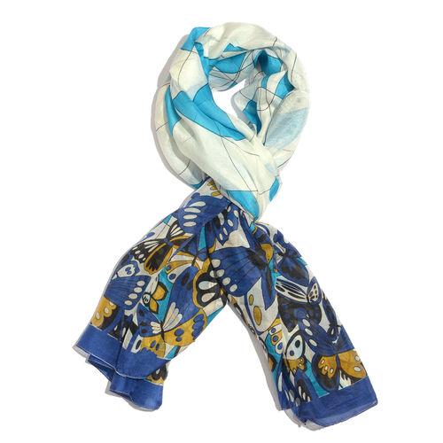 100% Mulberry Silk Multi Colour Butterfly Printed Blue and White Colour Scarf (Size 180x100 Cm)