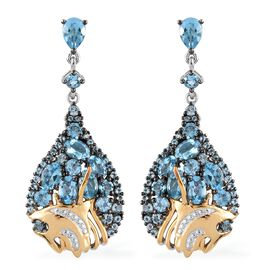 GP Swiss Blue Topaz (Pear), Kanchanaburi Blue Sapphire Drop Earrings (with Push Back) in Yellow Gold and Platinum Overlay Sterling Silver 10.750 Ct. Silver wt 11.87 Gms.