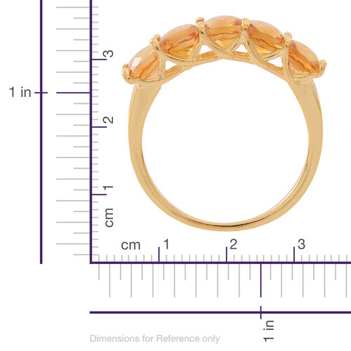 Madeira Citrine (Cush) 5 Stone Ring in 14K Gold Overlay Sterling Silver 3.000 Ct.