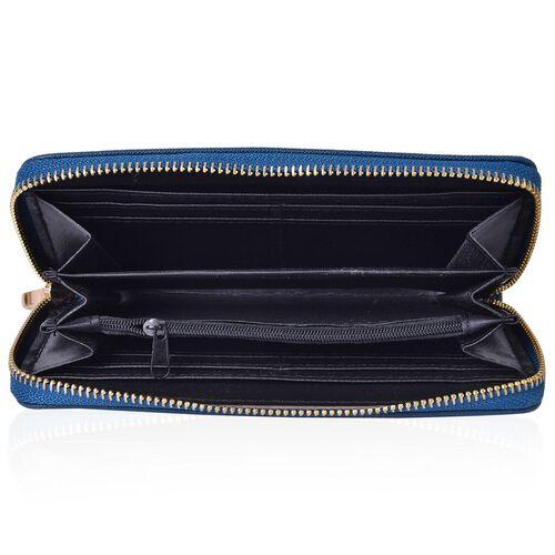 Cutout Design Metal Adorned Blue Colour Ladies Wallet with Multiple Card Slots (Size 19.5X9.5X3 Cm)