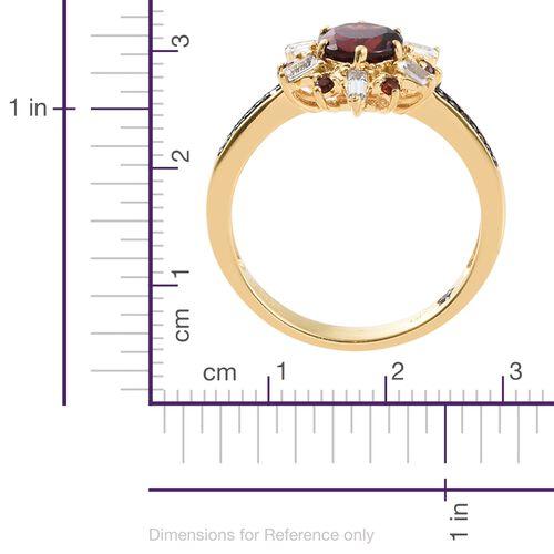 GP Mozambique Garnet (Rnd 1.55 Ct), Kanchanaburi Blue Sapphire, White Topaz and Boi Ploi Black Spinel Ring in 14K Gold Overlay Sterling Silver 2.000 Ct.
