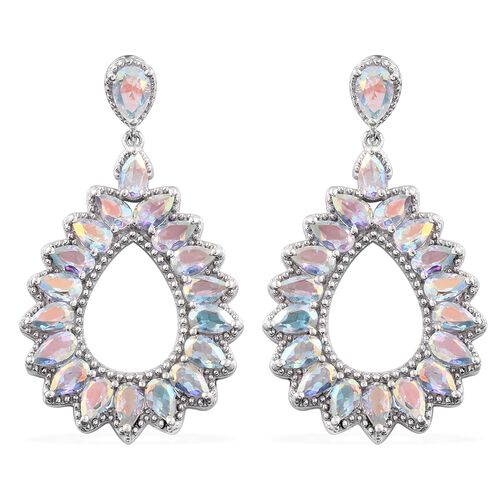 Mercury Mystic Topaz (Pear) Earrings (with Push Back) in Platinum Overlay Sterling Silver 9.000 Ct.