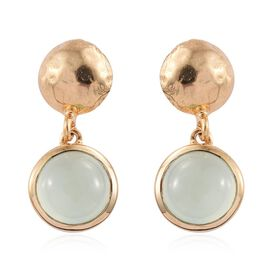 Aqua Chalcedony 4.25 Ct Silver Earrings in Gold Overlay (with Push Back)
