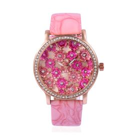STRADA Japanese Movement Pink and Fuchsia Colour Enameled Flower Dial Water Resistant Watch with White Austrian Crystal in Rose Gold Tone with Pink Colour Strap