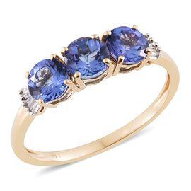 Tanzanite (2.25 Ct) and Diamond 14K Y Gold Ring  2.300  Ct.