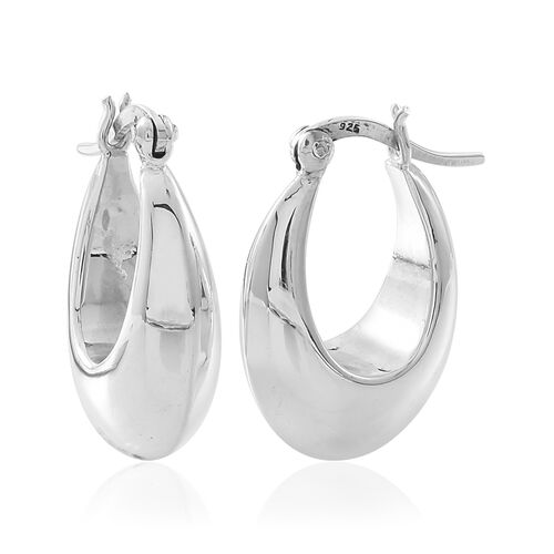 Close Out Deal-High Polish Sterling Silver Hoop Earrings (with Clasp Lock), Silver wt. 4.25 Gms.