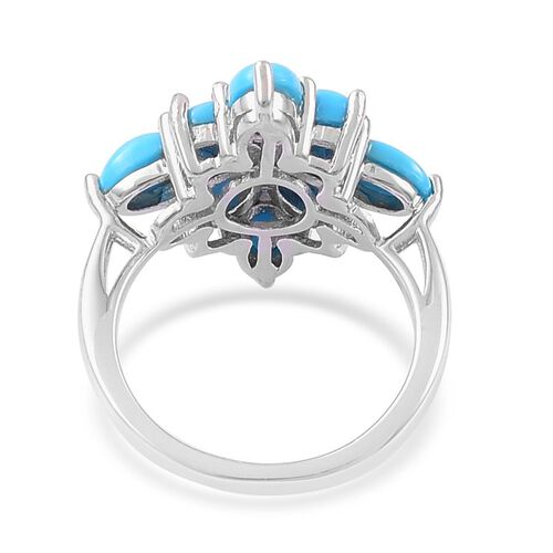 Arizona Sleeping Beauty Turquoise (Ovl) Ring in Platinum Overlay Sterling Silver 2.400 Ct.