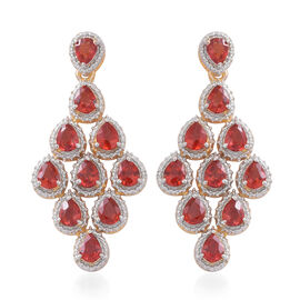 Very Rare Red Sapphire (Pear) Earrings (with Push Back) in 14K Gold Overlay Sterling Silver 4.000 Ct.
