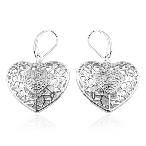J Francis - Platinum Overlay Sterling Silver Heart Lever Back Earrings Made with SWAROVSKI ZIRCONIA, Silver wt 11.13 Gms.