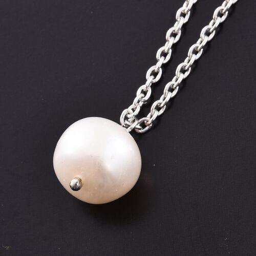Fresh Water Pearl Necklace (Size 18) in Rhodium Plated Sterling Silver