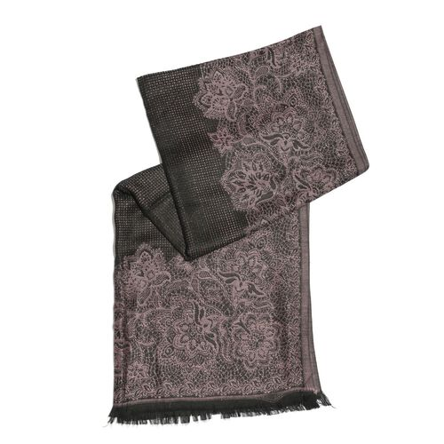 100% Viscose Pink and Black Colour Floral Pattern Scarf (Size 180x70 Cm)