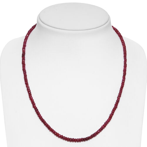 Limited Edition - Rare Ruby Beads Necklace (Size 20 with 2 inch Extender) in Rhodium Plated Sterling Silver 100.000 Ct.