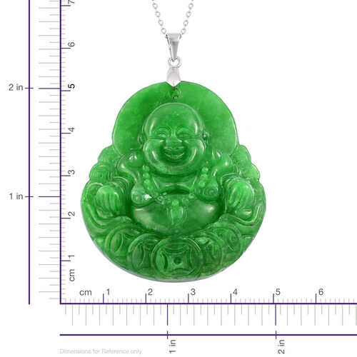 Exclusive Edition- Rare AAA Hand Carved Green Jade Laughing Buddha Pendant with Chain in Rhodium Plated Sterling Silver 166.500 Ct.