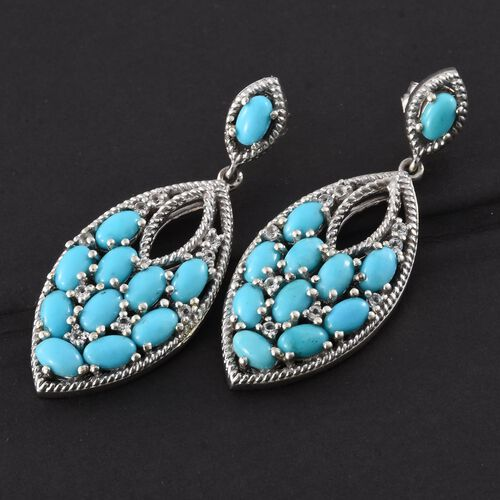 AA Arizona Sleeping Beauty Turquoise (Ovl), White Topaz Earrings (with Push Back) in Platinum Overlay Sterling Silver 5.150 Ct. Silver wt 8.73 Gms.