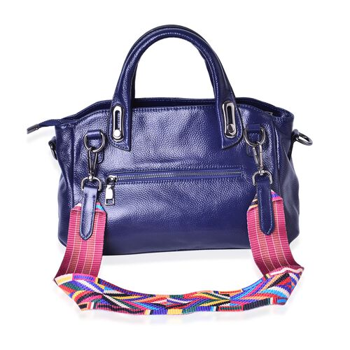 100% Genuine Leather Navy Blue Colour Tote Bag with Multi Colour Removable Shoulder Strap (Size 32x28x12x20)
