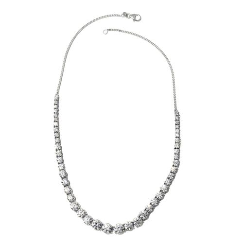 J Francis - Platinum Overlay Sterling Silver (Rnd) Necklace (Size 18) Made with SWAROVSKI ZIRCONIA, Silver wt 20.32 Gms.