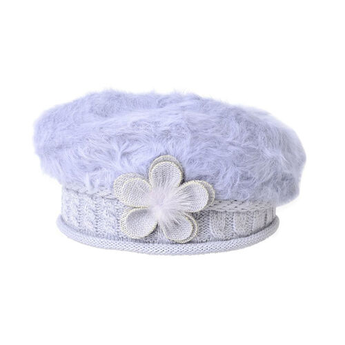 MILANO COLLECTION - Grey Flower Embellished Faux Fur Knitted Beret